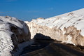 Snow on leh manali highway india at rothang la pass the road in ladakh jammu and kashmir state Stock Images