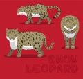 Snow Leopard Cartoon Vector Illustration