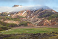 Snow lies in the hollows of mountains multicolored rhyolite early summer morning national park landmannalaugar iceland Royalty Free Stock Photography