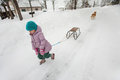Snow little girl in pink jacket pulling sled on the Royalty Free Stock Photo