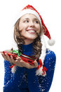 Snow maden with present and snow Royalty Free Stock Photo