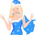 Snow maiden in blue christmas costume Royalty Free Stock Photography