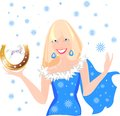 Snow maiden in blue christmas costume Stock Photos