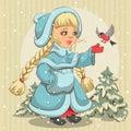 Snow maiden in blue fur coat feeds bullfinch illustration vector format Stock Image