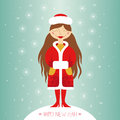 Snow maiden greeting card happy new year Royalty Free Stock Photos