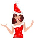 Snow maiden in red christmas costume Royalty Free Stock Photos