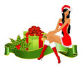Snow Maidens and gifts Royalty Free Stock Images