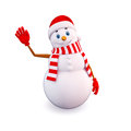 Snow man with bye action Royalty Free Stock Photography