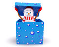 Snow man coming out of the gift box Stock Images