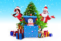 Snow man with gift box and girl Royalty Free Stock Photos
