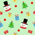 Snow man with gift seamless pattern. Cute Christmas holidays cartoon character background