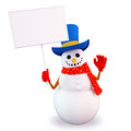 Snow man holding sign Stock Photo
