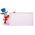 Snow man pointing towards sign Stock Photos