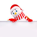 Snow man with sign Royalty Free Stock Image
