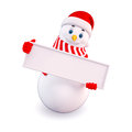 Snow man with sign board Stock Image