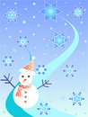 Snow man and stars Royalty Free Stock Photos