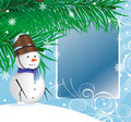 Snow man under a fir-tree Royalty Free Stock Photography