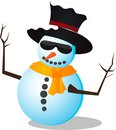 Snow man vector picture of snowman in hat and sunglasses Royalty Free Stock Images
