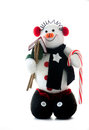 Snow man on white background a cute snowman with a candy cane and bird house Stock Photo