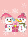 Snow man woman bird love eps illustration of and with loving this file info version illustrator document inches width height Royalty Free Stock Photos