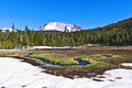 Snow on mount lassen in the volcanic national park Stock Image