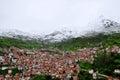 Snow mountain over the village Royalty Free Stock Photo