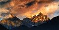 Snow Mountain in sunset