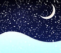 Snow at night crescent with a moon vector art illustration Stock Images