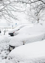 Snow on parked car Royalty Free Stock Photography