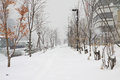 Snow pathway in the winter of japan Stock Photography