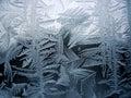 Snow pattern on winter window Stock Photo