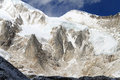 Snow peaks near manaslu mount in nepal Royalty Free Stock Images
