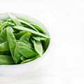 Snow peas in white bowl with copy space light background square Royalty Free Stock Images