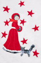 Snow princess and a cat stitched on a white soft background with handmade maiden fluffy red stars pattern copy space Royalty Free Stock Photos