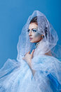 Snow queen attractive young girl with a theatrical makeup on the face in the image fabulous Royalty Free Stock Images