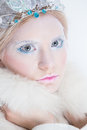 Snow queen beauty make up young blonde girl like with extreme makeup Stock Images