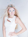 Snow queen beauty make up young blonde girl like with extreme makeup Royalty Free Stock Photography