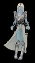 Snow queen blue skinned fantasy ice in armour isolated on black Royalty Free Stock Image
