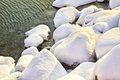 Snow räknade Rocks Fotografering för Bildbyråer
