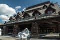 Snow Remains at Old Faithful Inn Royalty Free Stock Photo