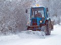 Snow removal from road 2 Stock Photos