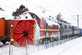 Snow removal train in a railway station in romania Royalty Free Stock Photos