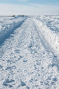Snow roads after a storm the road has narrowed difficult winter Stock Photography