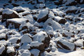 Snow and rocks fragment of covered Royalty Free Stock Photography