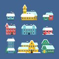 Snow roof houses. Cold season urban snowy city snowstorm with snowflakes vector flat illustrations