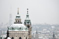 Snow on the roof of St. Nicholas church, Prague Royalty Free Stock Photo