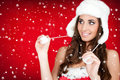 Snow and santa woman in white furry hat Stock Photos