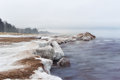 Snow Shore at Lake Superior Royalty Free Stock Photo
