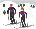 Snow ski cartoon people on a winter day Royalty Free Stock Photo