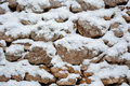 Snow on Stone Wall Royalty Free Stock Photo